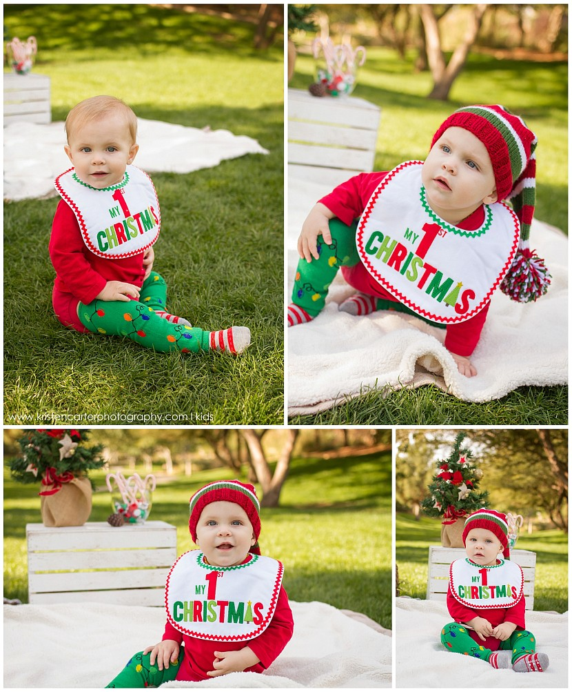 Baby's First Christmas Photos, Elf Hat, Gilbert AZ Hot Cocoa Session Kristen Carter Photography