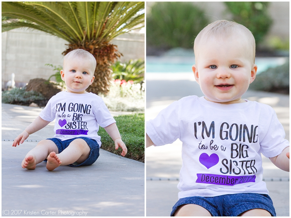 Little girl in Big Sister Shirt